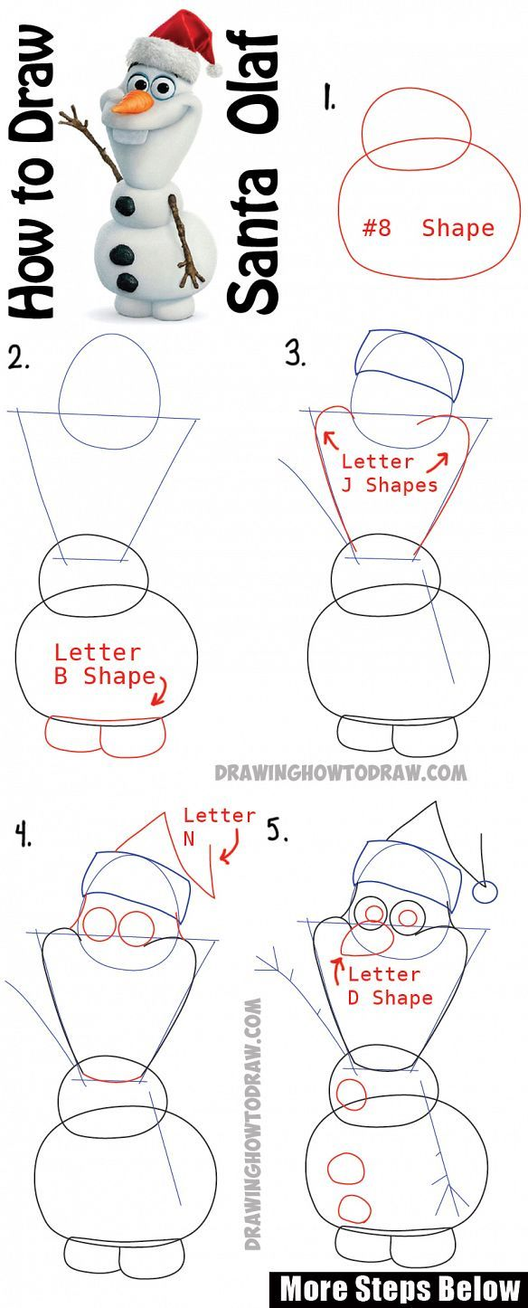 How to Draw Olaf with Santa Claus Hat On Step by Step