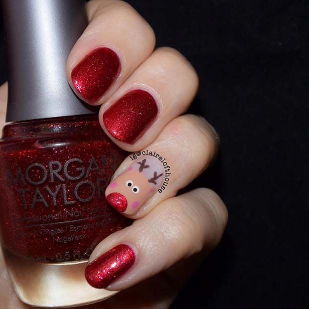 Cute Red Christmas Nails + Rudolph Accent Nail