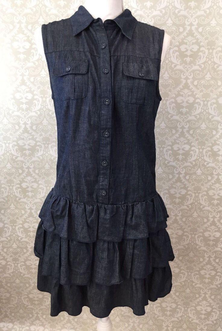 Velvet Heart Sleeveless Ruffle Button Up Dress- Large L | eBay