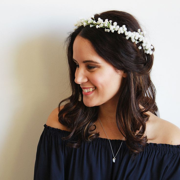 Fun and flirty, our Ophelia Crown is made from babies breath flowers attached to a brown base for that rustic vintage feel. Fabulous for those after a daintier look, this crown is perfect for baby showers, festivals and more. With the versatility for a full made to measure crown, adjustable ribbon and detachable veil, please take the time to review the options below and select your favourite! For those wanting a full made to measure crown, please include your headsize in the not...