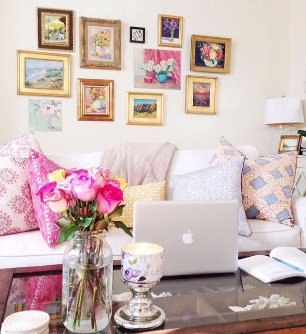 bright pillows + wall gallery #decor