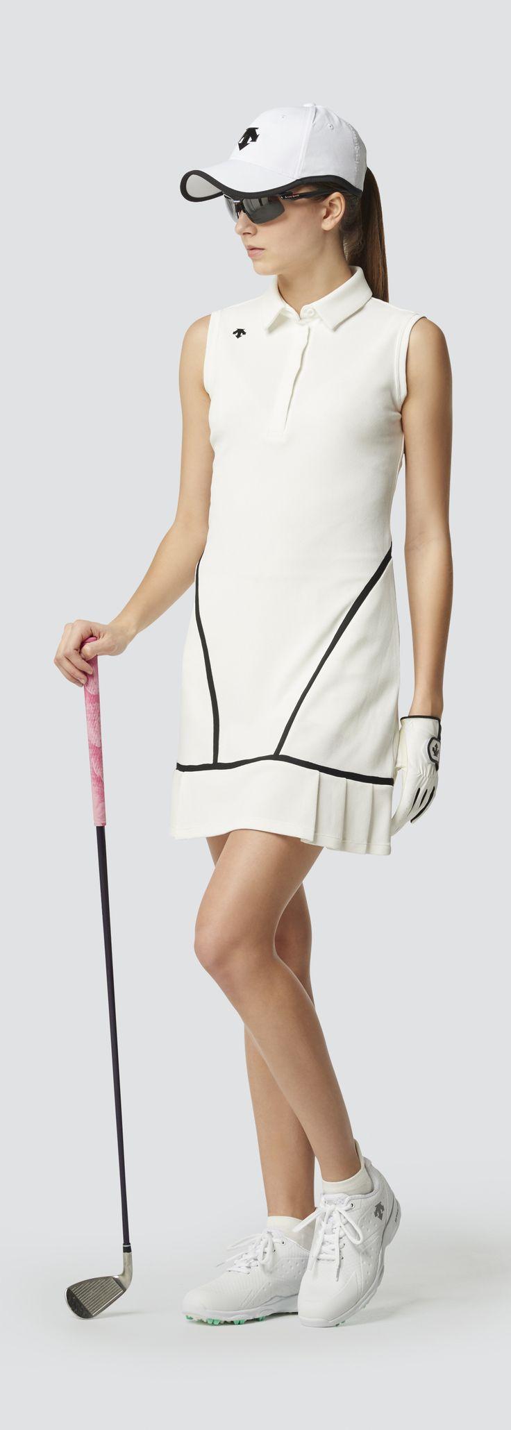 Descente Golf|ストレッチ インナースパッツ付 ワッフルワンピース | ストレッチ性が高く、ライン使いが特徴的なインナー付きスリーブレスワンピース。女性らしさを引き立てるフリル使いもデザインポイント。|デサントゴルフ|レディース ワンピース