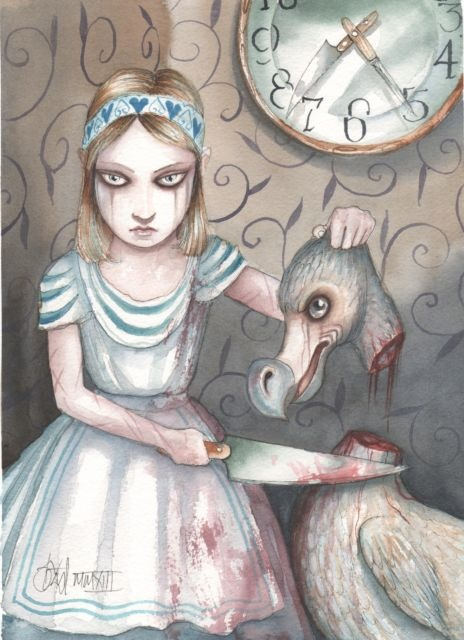 Alice in Wonderland Art Original Painting Through The Looking Glass Dodo Unique | eBay. Painting by Dominic Murphy.