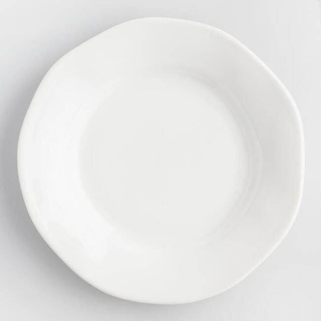 White Italian Organic Dinner Plates Set of 4 - v1
