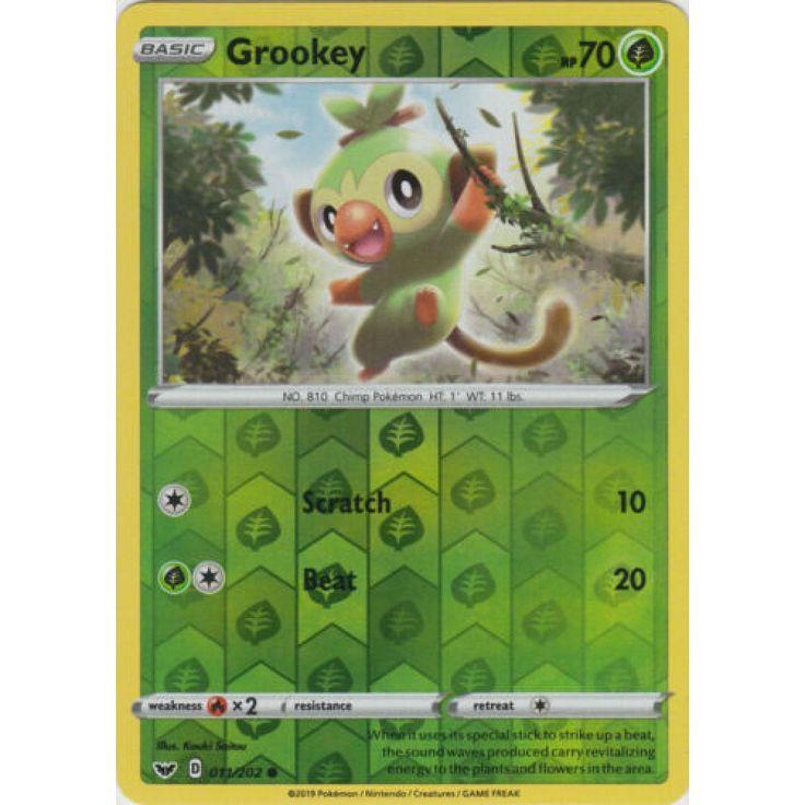 Grookey 011202 common reverse holo pokemon card sword