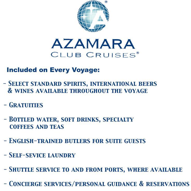 If you haven't sailed with @Azamara Club Cruises  you're missing out! They really embrace the luxury experience! Here is a list of whats included on every sailing (see photo)  You can see our 1-week Azamara exclusive sale at http://www.cruiseholidaysoakville.com/azamara-one-week-sale.aspx  Call/email to book!  #cruise #travel #cruisedeals #cruising #holidays2014 #holiday #holidays #luxurytravel #luxurycruise #luxurycruisedeals #luxurycruiseoffers #luxurycruising