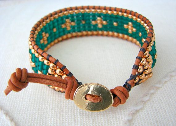 bead loom wrap bracelet emerald green gold beaded
