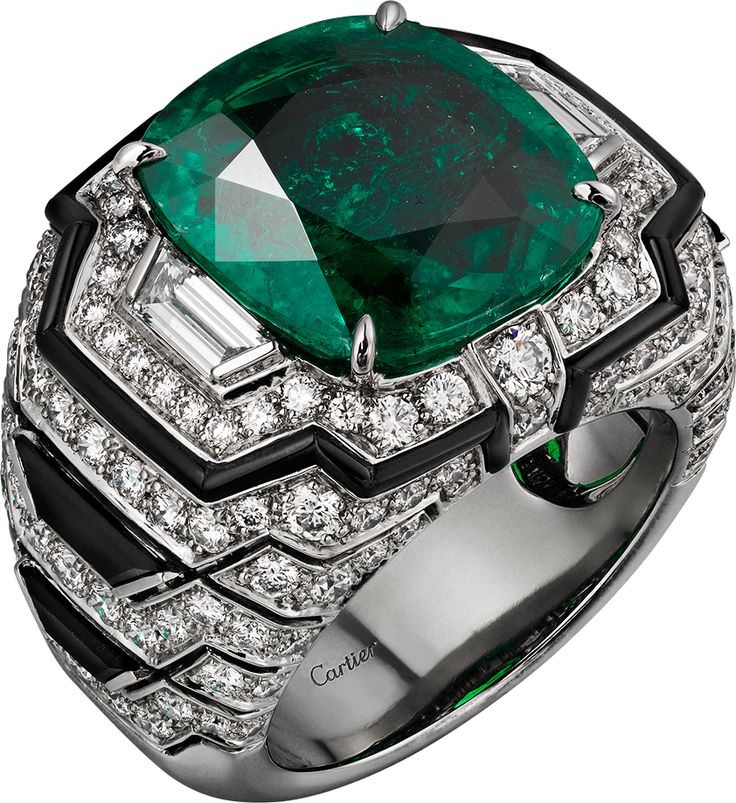 CARTIER. platinum 8.12 ct cushion cut emerald from Colombia, onyx, tapered diamonds, brilliant-cut diamonds.