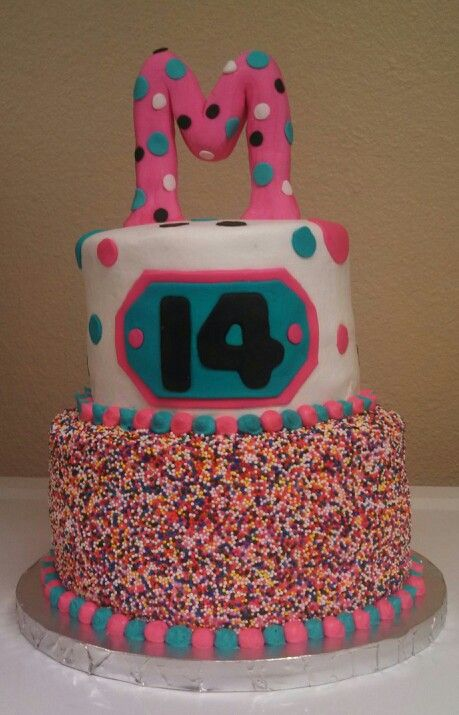 my niece's 14 th birthday cake..first sprinkle cake uve done