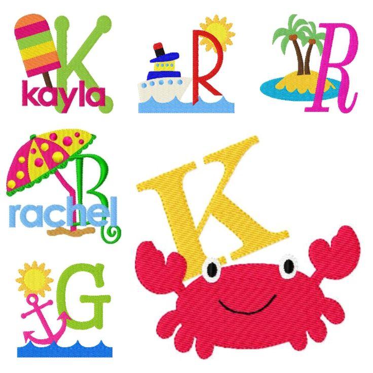 Crab Machine Embroidery Monogram Font Design Set Summer Sand Beach Designs Joyful Stitches