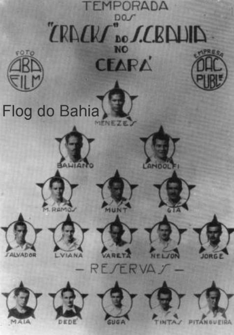 """Excursão do Bahia no Ceará em 1939  Foto retirada do livro """"Bahia de Todos os Títulos"""" de Newton Calmon e Carlos Casaes."""