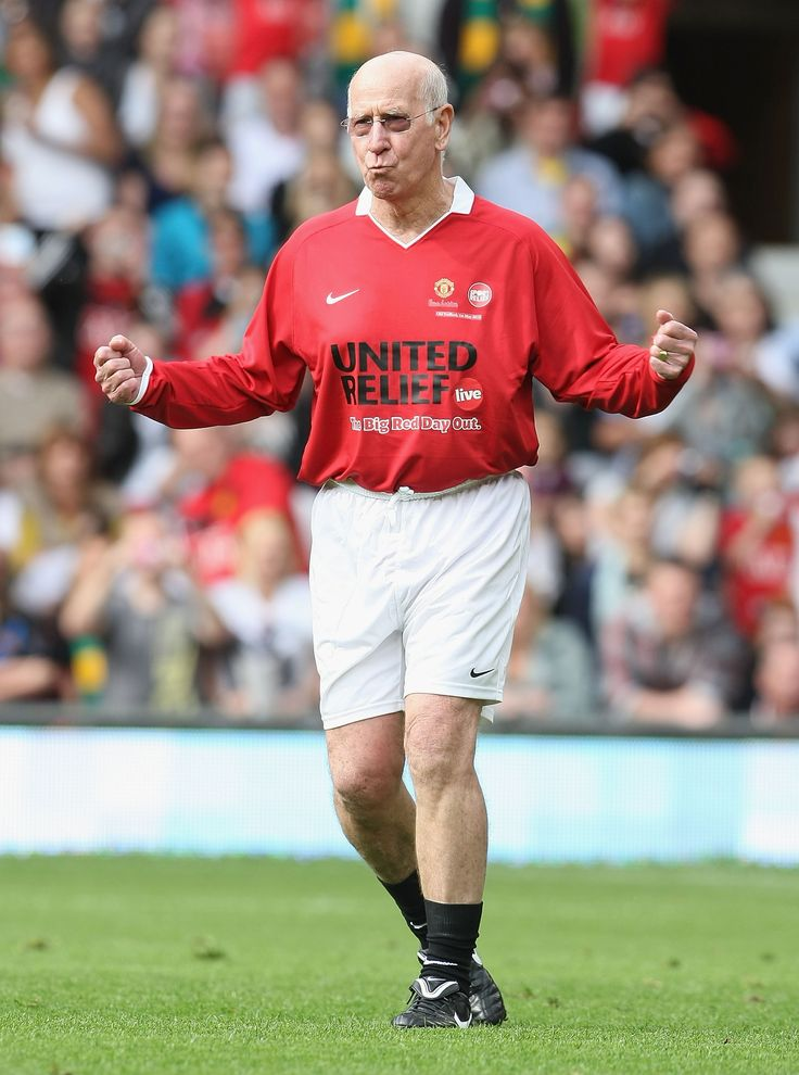 Sir Bobby Charlton revisits his playing days during the Manchester United Foundation's 'United Relief' event where Old Trafford legends took on their Real Madrid counterparts. Sir Bobby came on at half-time to take part in a penalty shoot-out.