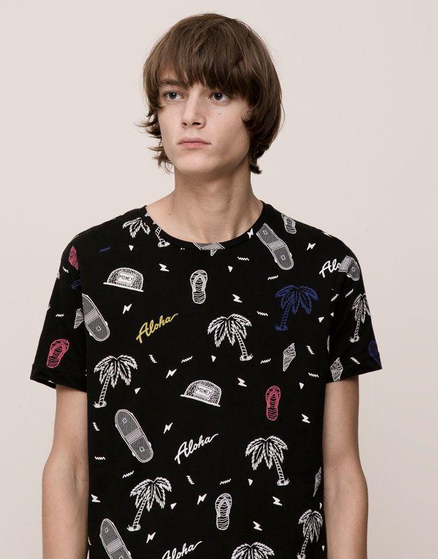 Pull&Bear - hombre - camisetas - camiseta manga corta estampado allover - negro - 09238517-I2015