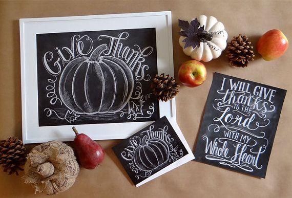 Thanksgiving Card Fall Chalkboard Art Pumpkin by LilyandVal