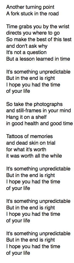Lyrics containing the term: good time