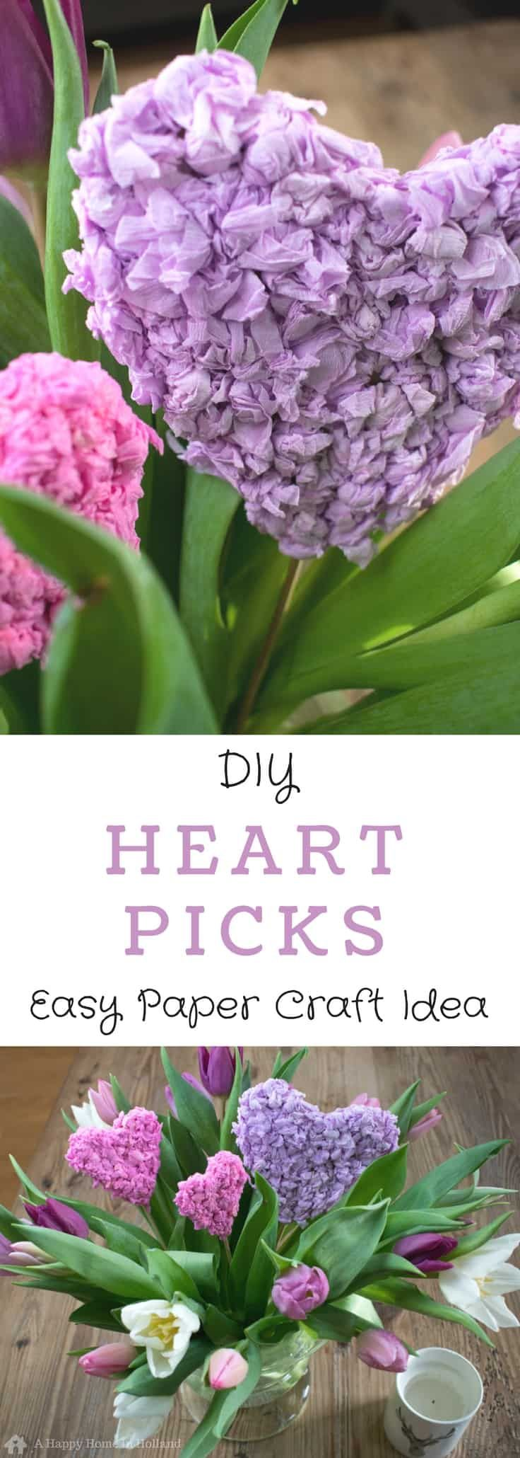 diy heart picks - a quick and easy paper craft idea to use to decorate your home and gifts - great for valentine's day and mother's day!
