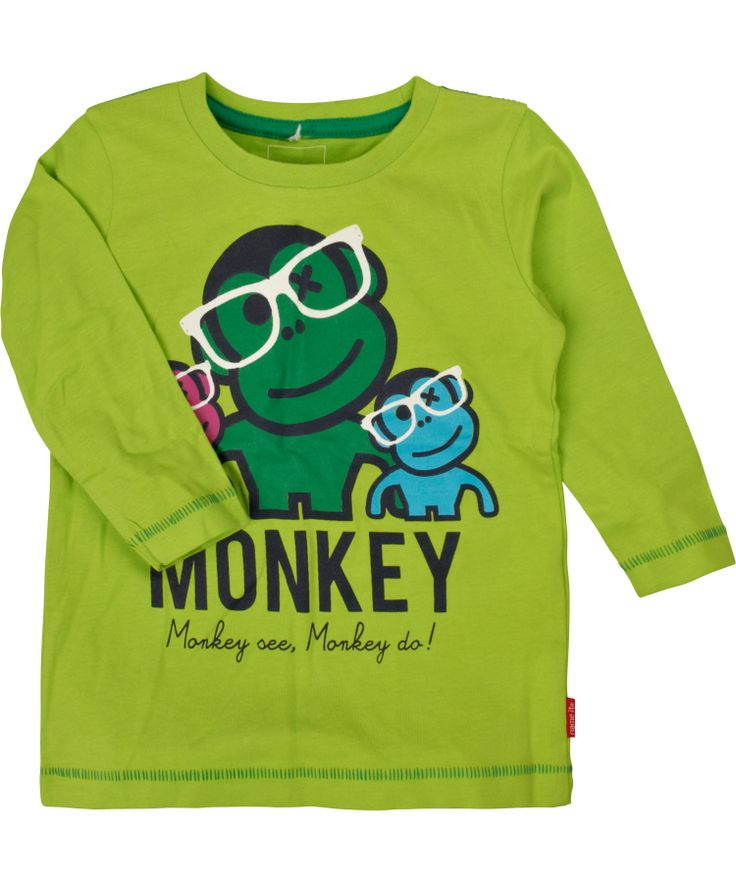 Flashy T-shirt vert avec 3 singes branchés par Name It #emilea