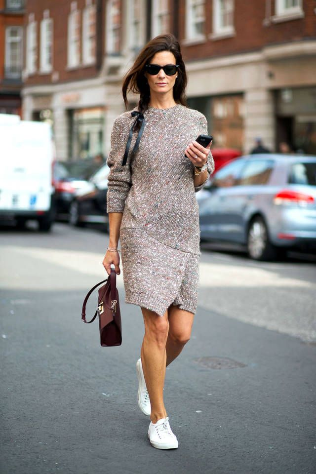 93 outfit-inspiring street style looks spotted at London Fashion Week. - I love this dress with white tennis shoes!!!