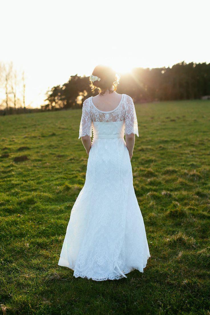 Bride in a High Street Lace Monsoon Wedding Dress | Rustic Barn Reception | DIY decor | Suzy Wimbourne Photography | http://www.rockmywedding.co.uk/joanna-nick/