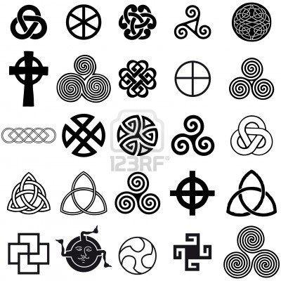 Set of Celtic symbols icons vector. Tattoo design set. Stock Photo - 6761759