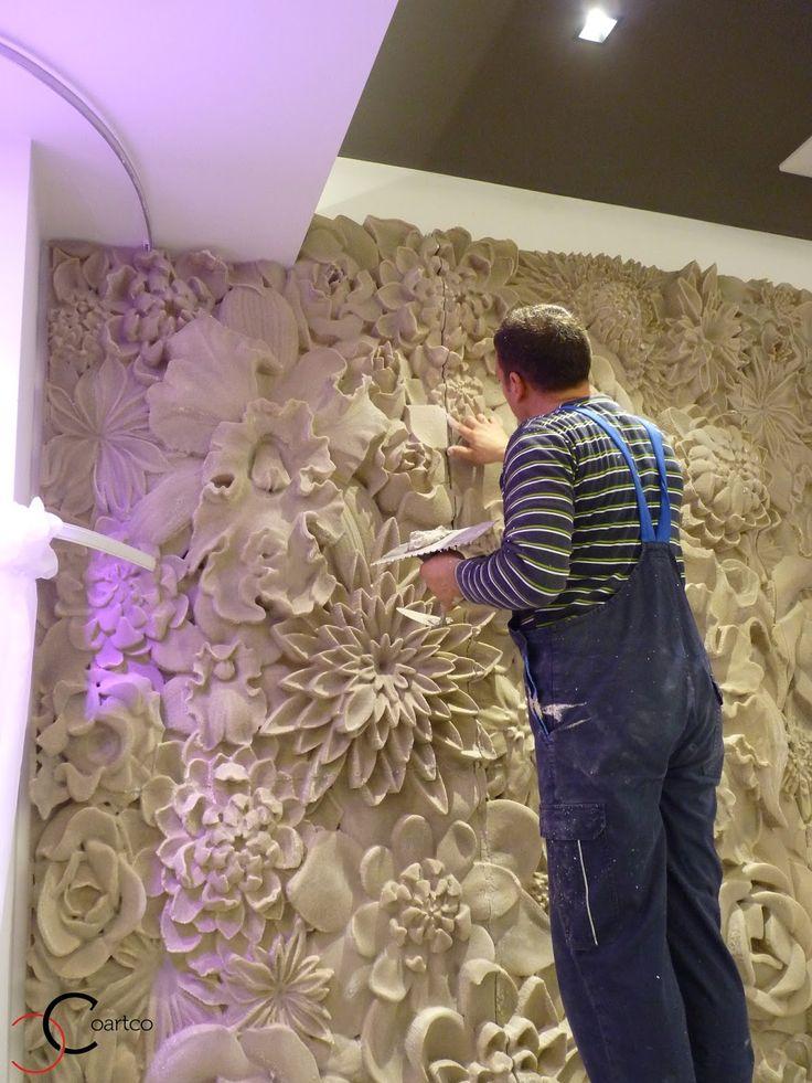 Manopera montaj panou decorativ din polistiren CoArtCo in sala de evenimente
