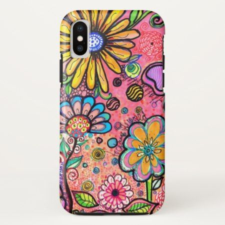 Psychedelic Flower Drawing iPhone X Case - click/tap to personalize and buy