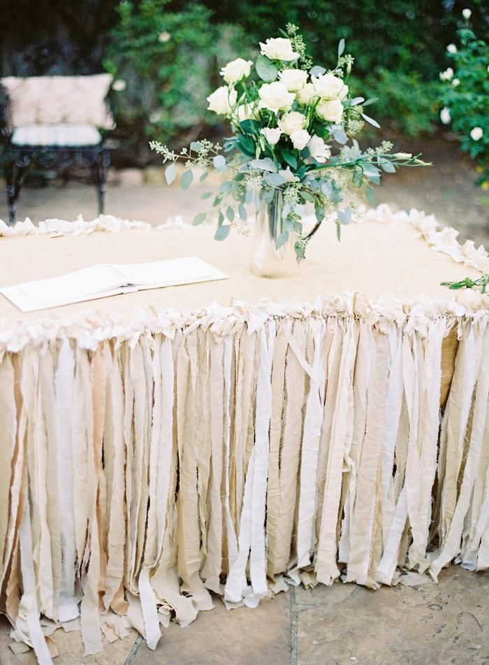 scrap fabric table skirt / via: Grey Likes Weddings
