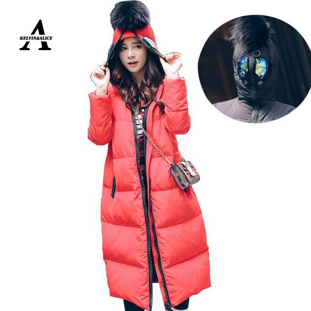 Plus Size Winter Jacket Women Manteau Hiver Femme Fur Ball Anti-wolf Glasses Hooded Duck Down Long Army Green Red Jacket US $99.99 /piece Specifics Gender	Women Outerwear Type	Down & Parkas Clothing Length	X-Long Brand Name	JUNMAN Filling	White duck down Closure Type	Zipper Fabric Type	Broadcloth Hooded	Yes Down Content	90% Sleeve Length	Full Pattern Type	Solid Type	Slim Material	Down Thickness	Thin Weight	0.9  Click to Buy :http://goo.gl/t9O329