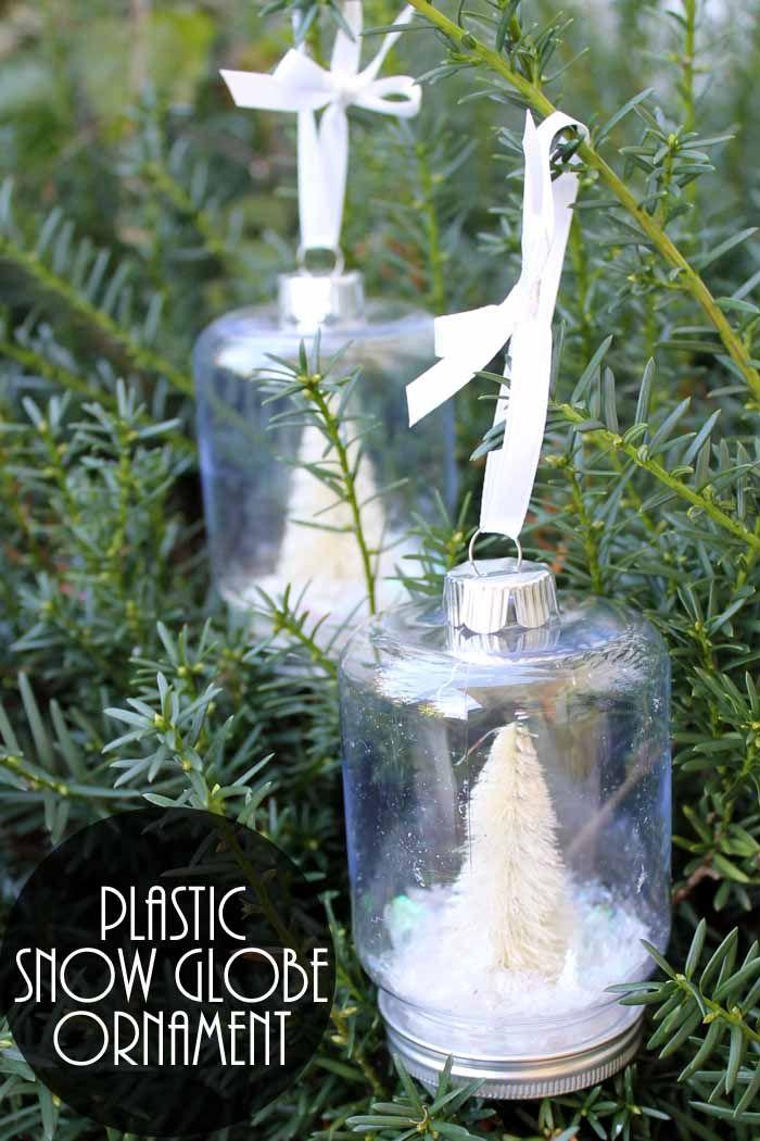 Plastic Snow Globes In A Jar Shape Snow Globes Snow Globe Crafts Plastic Mason Jars