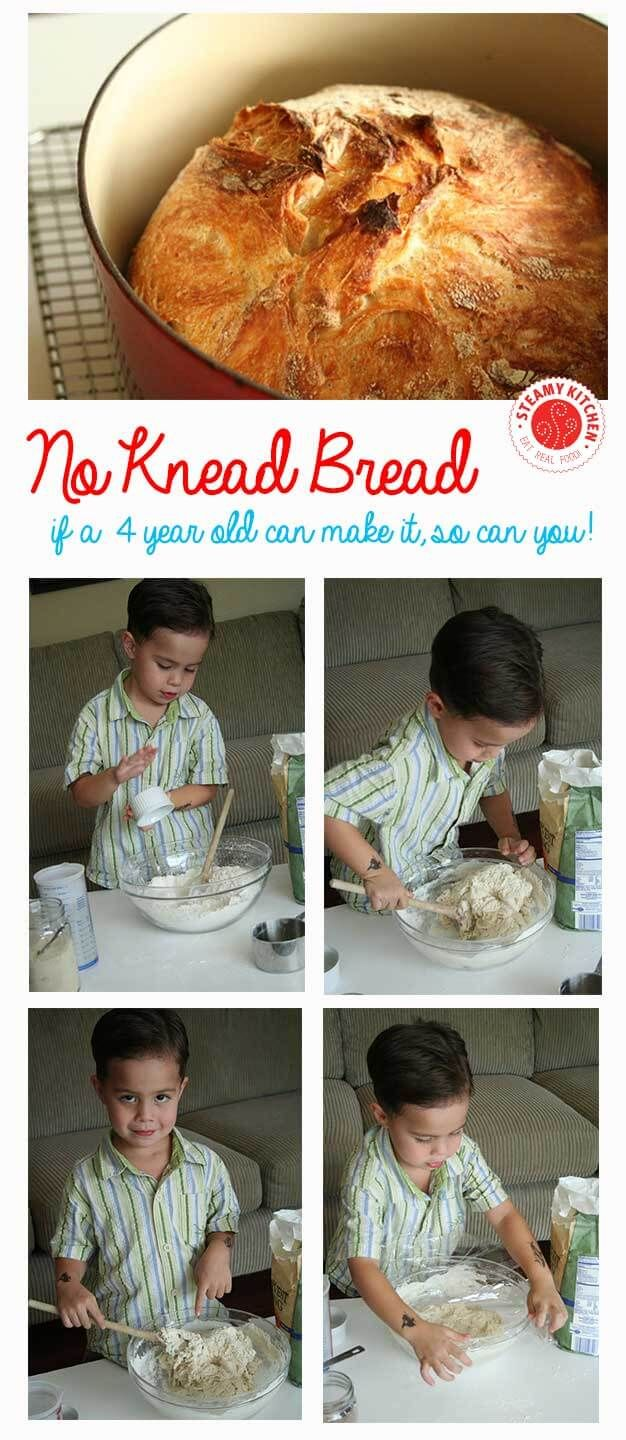 No Knead Bread, so easy a 4-year old can make it! ~ http://steamykitchen.com