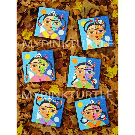 6 different Frida Kahlo Day of the Dead Sugar Skull and Skeleton 6 x 6 folk art canvas PAINTINGS by LuLu Mypinkturtle