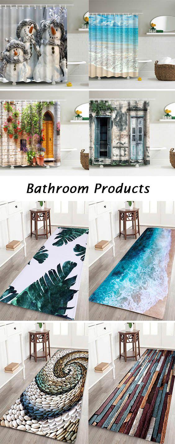 home decor ideas for bathroom:shower curtains and bath rugs