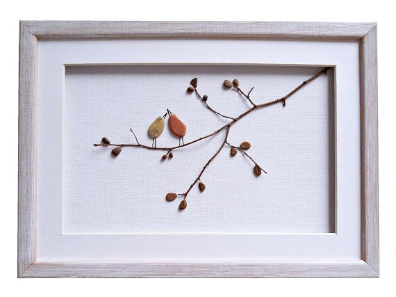 This beautiful 3D picture of birds on a twig is handmade using pebbles and dry twig found by me on the beaches near Varna, Black Sea coast.  The beautiful simplicity of the…