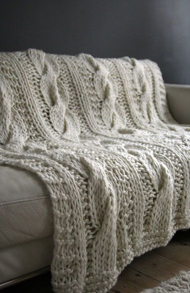 chunky knit for sofa, bed or to wrap up in out in the garden on a summers night x