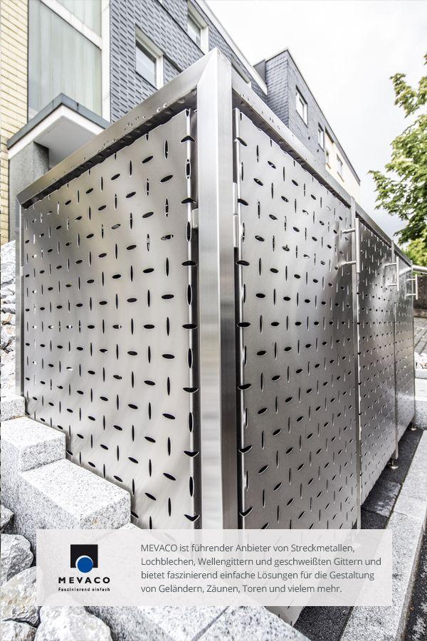 Die Edelstahl-Müllboxen der JVA Remscheid aus MEVACO Lochblech. Die hochwertigen Mülltonnen-Verkleidungen hüllen ihren Inhalt gekonnt ein. Die Mülltonnen werden dabei fast zur Nebensache. Mehr unter http://www.mevaco.de/fascination-47 #MEVACO #Lochblech #Edelstahl #Creativ-Line-Ellipse #FaszinationNo47