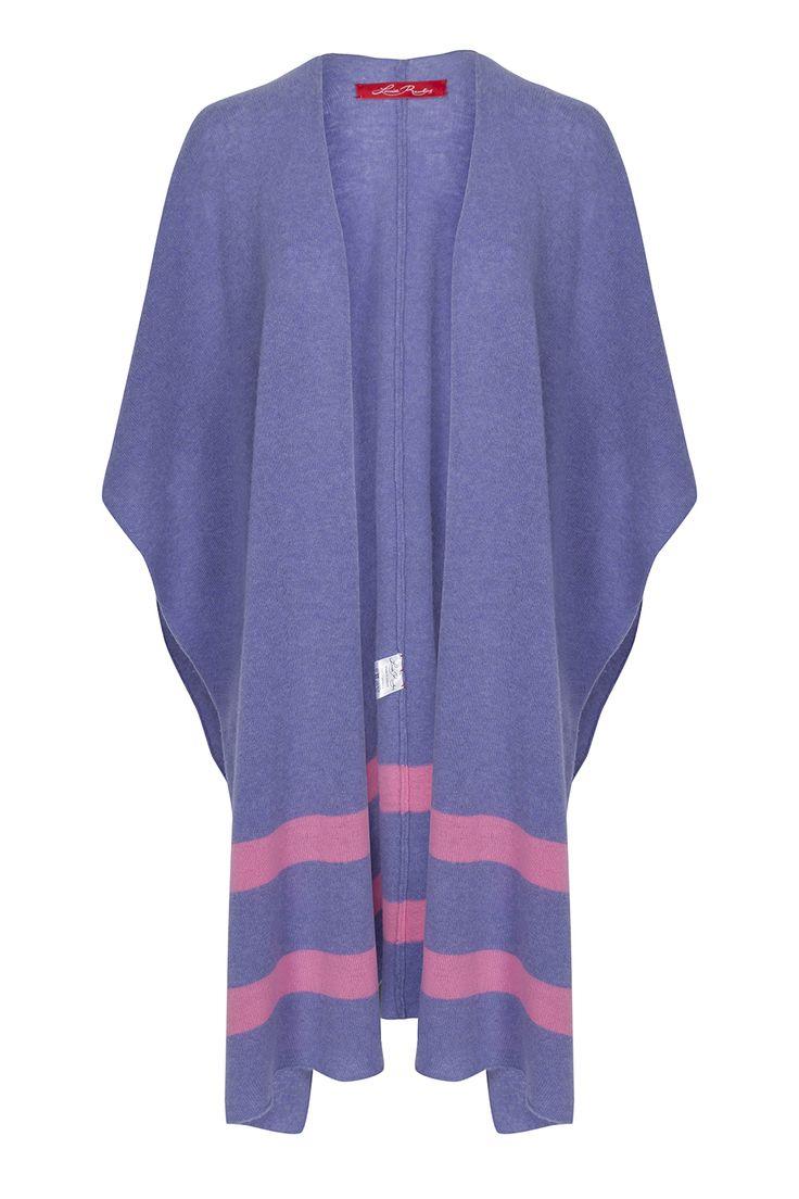 Louise Rawlins Lambswool Lavender & Pink Stripe Blanket Shawl. www.louiserawlins.ie