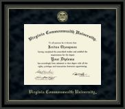 Virginia Commonwealth University - Gold Embossed Diploma Frame in Noir with Black Suede Mat