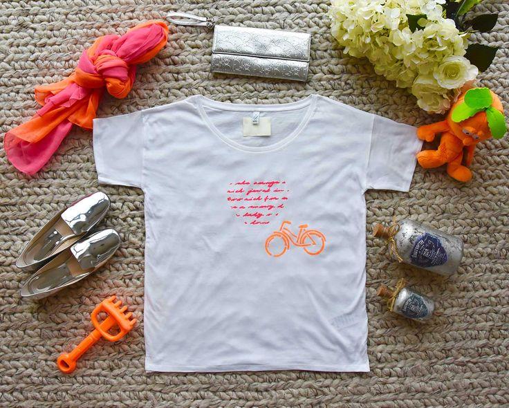 T-shirt für Damen / Mamas mit Orangen Fahrrad