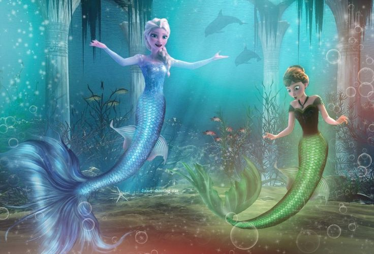 Elsa's all like Ariel was in The Little Mermaid Two like: Whatever I'm not new to this thing I'm FABULOUS too! and Anna's all like: WUT