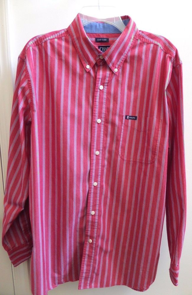 Chaps Easy Care Long Sleeve Nantucket Red Stripe Cotton Blend Casual Shirt  XL #Chaps #ButtonFront