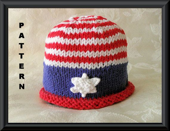 KNITTING PATTERN Patriotic Baby Hat-Stars and Stripes Beanie. $