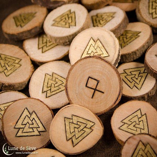 Set de 24 Runes gravées à la main et dorées à la feuille d'or 22 carats (motif Valknut)