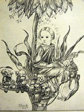 Sulamith Wulfing 1932 CHOSEN ONE Child Flower w Gnomes Playing Violin Art Matted