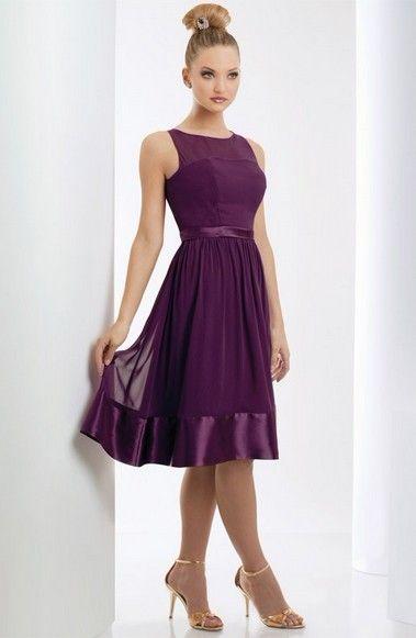 A-linje Bateau ren knälång chiffong charmeuse brudtärna klänning stil
