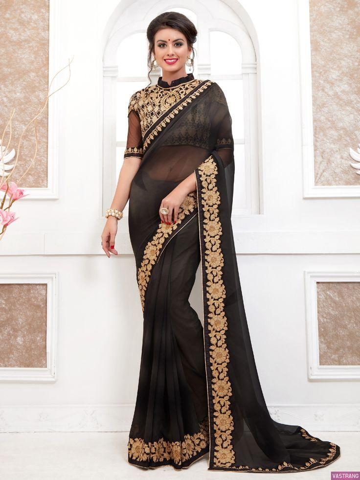 Royal Black Color Embroidered Designer Heavy Lace Border Saree
