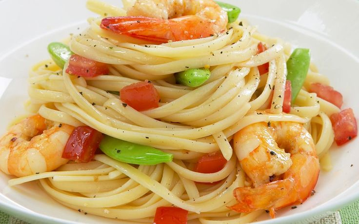 Linguine is a flat spaghetti-type pasta that lends itself to seafood, in particular prawns with garlic and chilli.