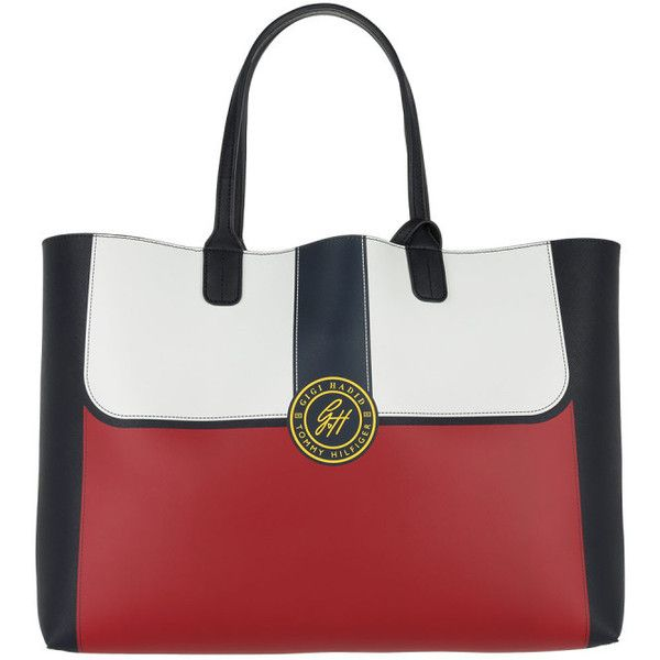 Tommy Hilfiger Handle Bag - Gigi Hadid City Tote Colourblock Blue - in... ($155) ❤ liked on Polyvore featuring bags, handbags, tote bags, vegan tote bags, vegan tote, red purse, reversible vegan leather tote bag and white purse