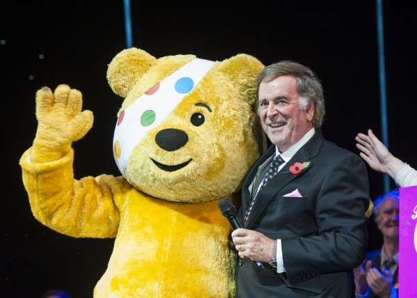 A picture of Terry Wogan with Pudsey bear