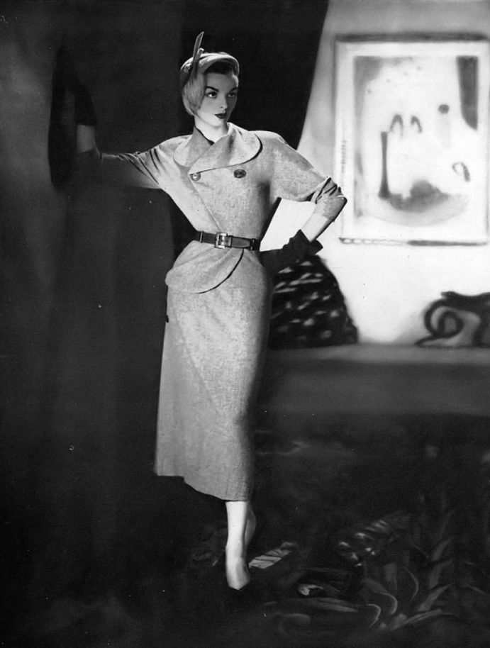 1949 Model in wool two-piece custom-order by Bendel Originals