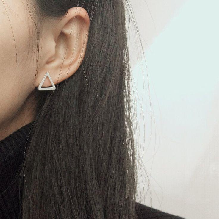 Triangle Stud Earrings, Stud Earrings, Geometric Silver Earrings, Modern Earrings, Minimal Earrings, Dainty Earrings,Simple Earrings by JewelryRB on Etsy https://www.etsy.com/listing/265339232/triangle-stud-earrings-stud-earrings